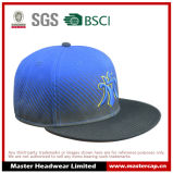 Chapeau noir de Snapback de bord pour des adultes avec la broderie 3D dans l'avant