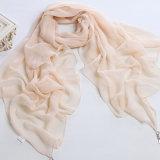 Châle Chiffon d'écharpe de polyester pur de couleur de femmes