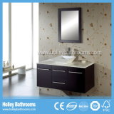 LED Touch Switch MDF High Gloss Paint Espace de stockage Large Double Transparent Glass Basin Vanité de salle de bain (BF121D)