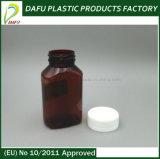 Rechteckige bernsteinfarbige Plastikmedizin-Flasche der Kippen-Spitzenschutzkappen-160ml