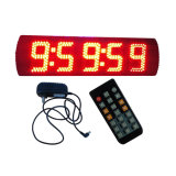 """reloj de Tiiming de la raza del color rojo LED de 5 """" 5 dígitos, usado en Semi-Al aire libre, IR teledirigido"""