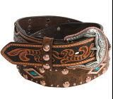 Nouvelle ceinture classique en relief en cuir de vache