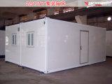 Chambre préfabriquée modulaire/mobile de 20FT de conteneur avec les roues et les échelles (CH-455)