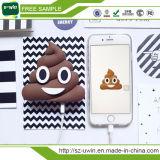 Caricabatteria portatile molle del telefono del PVC di vendita 2000mAh del fumetto di divertimento di Emoji della Banca calda di potere