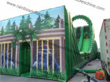 AdultsおよびKids Playのための21X6X10m Green Color Jungle Giant Zip Line Inflatable Slide Suit