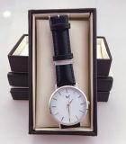 Einfacher Entwurfs-Edelstahl-Kasten-dünne Geschäftsmann-Uhr-Wasser-beständige lederne Band-Uhr