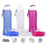 Bottiglia di acqua pieghevole di corsa 500ml di sport della perdita della prova del silicone della bottiglia pieghevole approvata dalla FDA esterna di sport