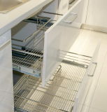 de moderne L-vormige Keukenkast van de Melamine van de Kleur van de Stijl Houten