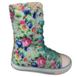 High Top Pink Flower Patterned Lace-up Shoes de lona para crianças