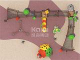 Спортивная площадка деревянной рамки Kaiqi крупноразмерная напольная с сетью Crawl, скольжением