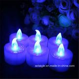 Indicatore luminoso tremulo blu della decorazione di candela della batteria LED di Tealight