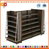 Einzelnes seitliches Stahl-und Holz-Supermarkt-Ausstellungsstand-Regal (ZHs652)