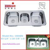 ثلاثيّة قصع [ستينلسّ ستيل] مطبخ غسل بالوعة ([11048ب])