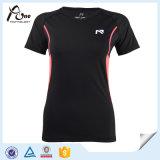 製造業の女性のカスタム卸し売りTシャツの実行の摩耗