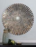 Specchio convesso incorniciato metallo forgiato mano della parete placcato in ottone spazzolato