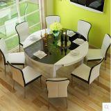 Boa qualidade da tabela de jantar com vidro Tempered na parte superior
