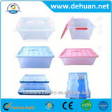 Rectángulo plástico de los envases de almacenaje con la maneta