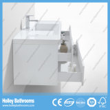 Hoher Glanz-weißer Farbanstrich-Badezimmer-Schrank mit seitlichem Schrank und LED-Lampe