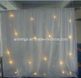 Rideau blanc en mariage de DEL avec le tissu de mariage de la gaze/DEL