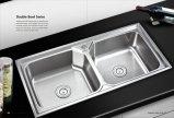 Doppelter Filterglocke-Einteiler der Edelstahl-Küche-Ware-Wannen-Wo8047