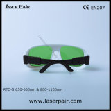 635nm de Rode Bril van de Veiligheid van de Lasers van de Diode van de Beschermende brillen van de Bescherming van de Laser en van 808nm & van 980nm (OTO-3 630660nm & 8001100nm) met Regelbaar Frame 36