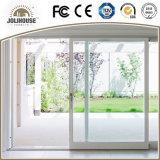 Porte coulissante des prix d'usine de coût bas de la fibre de verre UPVC de bâti en plastique bon marché de profil avec le gril à l'intérieur