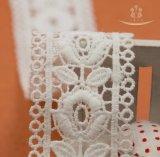 マルチカラーポリエステルフリンジのマクラメのリボンのスイスのボイルの乾燥したジャカードファブリックかぎ針編みのレース