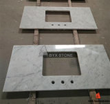 台所および浴室のためのカラーラの白い大理石によって磨かれるカウンタートップ