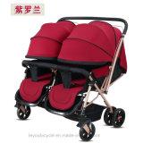 Poussette bébé double siège pliante pour les jumeaux (ly-a-70)