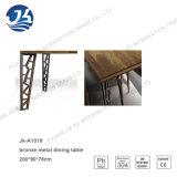 Noyer Naturel Long Office Table de réunion avec des jambes artistiques en métal