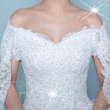 숄 (꿈 100045)를 가진 우아한 레이스 공단 떨어져 어깨 웨딩 드레스
