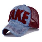 方法タオルによって刺繍される綿のデニムのナイロン網の野球帽(YKY3456)