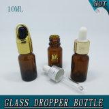 botella de cristal vacía del petróleo esencial del ámbar del tapón de tuerca del pequeño cilindro 10ml