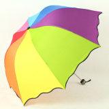 Förderung-kundenspezifisches Regenbogen-Geschenk-faltender Regenschirm 2017 mit schwarzem Beschichtung-Gewebe