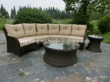 6 partes da mobília de vime ajustada curvada do jardim do sofá do bate-papo