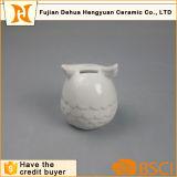 Batería guarra de la dimensión de una variable de cerámica del buho con el esmalte blanco