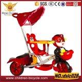 مع لون موسيقى ومظلة ومقبض قضيب طفلة درّاجة ثلاثية