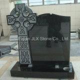 Pietra tombale nera di disegno della traversa celtica del granito