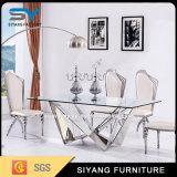 Móveis de aço inoxidável Mesa de jantar quadrada de vidro longo