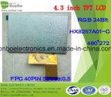 """étalage de TFT LCD de 4.3 """" 480X272 RVB, Hx8257A01-C, 40pin pour la position, sonnette, médicale"""