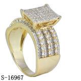 Argento placcato due toni 925 dell'anello di diamante dei monili