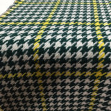 Compruebe la tela de lana de Houndstooth Verde y amarillo