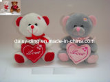 De grijze Teddybeer van de Valentijnskaart met Hart