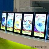 최신 판매 메뉴 전시 수정같은 가벼운 상자