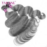 カラー灰色の毛の織り方のブラジルの人間の毛髪