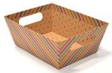Rectángulo de regalo de empaquetado del papel de Kraft de las rayas con la maneta