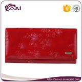 Оптовый бумажник женщины с цветком напечатал, портмоне неподдельной кожи 4 цветов