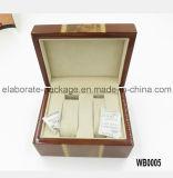 Caso dobro de madeira Handmade do armazenamento da caixa de relógio do estilo clássico