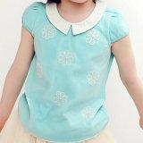 땀 소녀를 위한 자수 면 간결 소매 t-셔츠