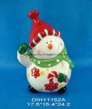 Vaso di ceramica dipinto a mano di memoria del pupazzo di neve